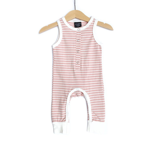 Sleeveless Stripe Snap Jumpsuit, Blush Pink