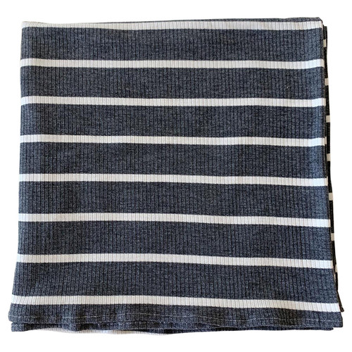 Ribbed Stretch Swaddle, Charcoal & White Stripe