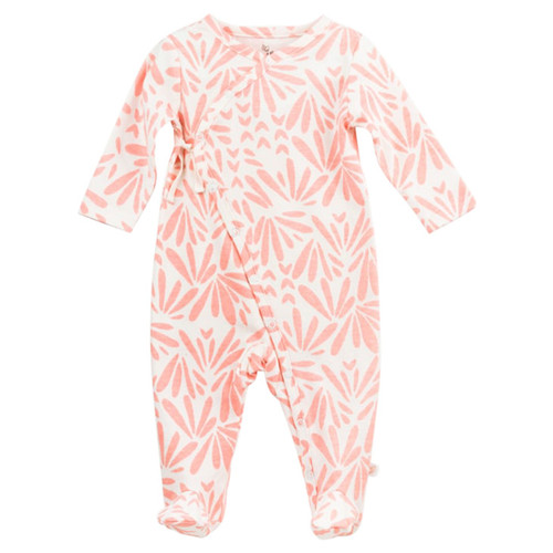 Organic Kimono Footed Romper, Pink Floral