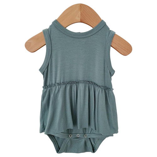 Sleeveless Skirted Bodysuit, Seabreeze