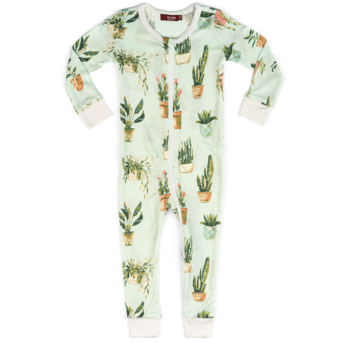 Bamboo Zip Romper, Potted Plants