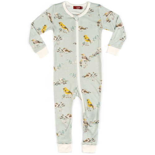 Bamboo Zip Romper, Blue Bird