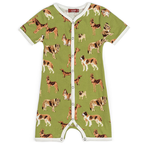 Organic Green Dogs Shorts Romper