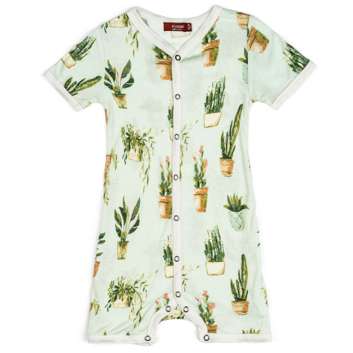 Bamboo Potted Plants Shorts Romper