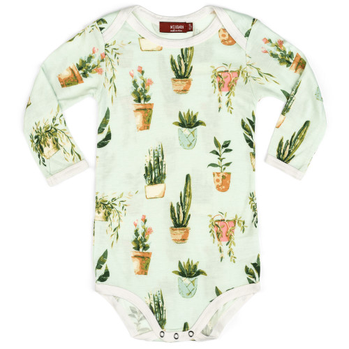 Bamboo Long Sleeve Bodysuit, Potted Plants
