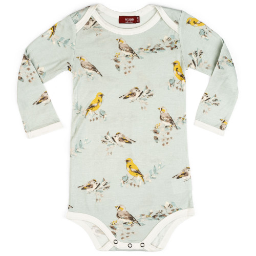 Bamboo Long Sleeve Bodysuit, Blue Bird