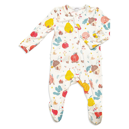 Zipper Ruffle Footie, Fruit Homes