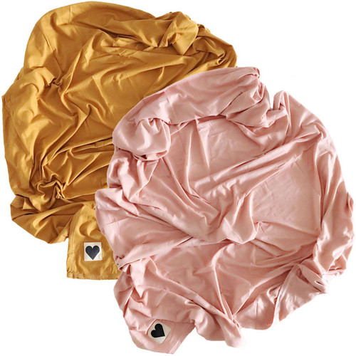 2-Pack Jersey Stretch Swaddle, Dusty Rose & Golden Mustard