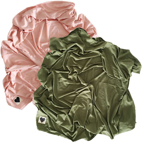 2-Pack Jersey Stretch Swaddle, Dusty Rose & Olive Green