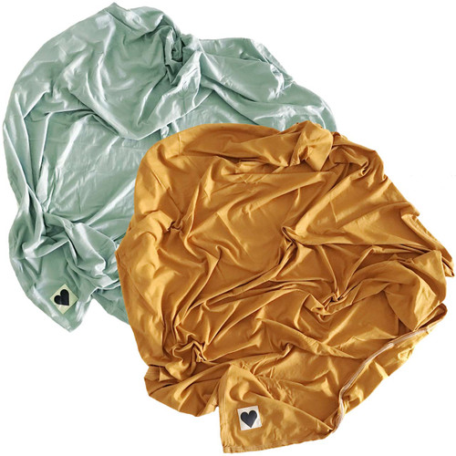 2-Pack Jersey Stretch Swaddle, Golden Mustard & Mint