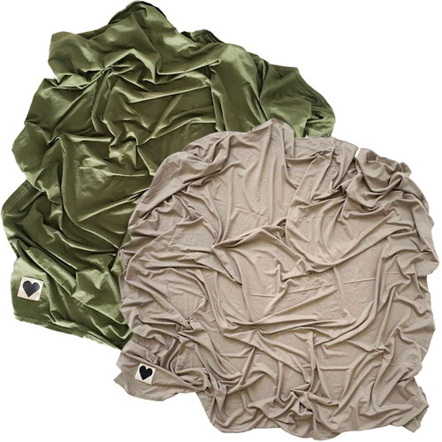 2-Pack Jersey Stretch Swaddle, Olive Green & Clay