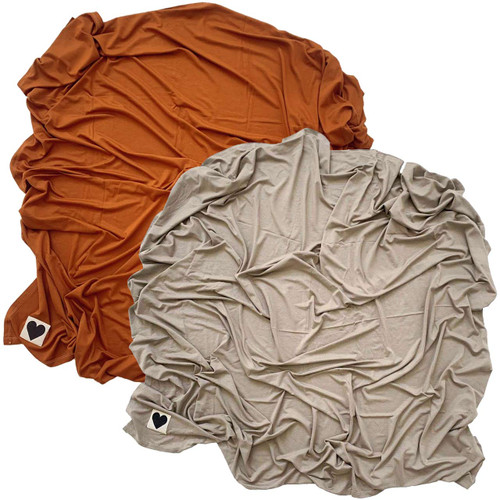 2-Pack Jersey Stretch Swaddle, Rust & Clay