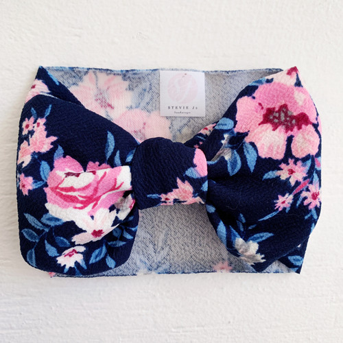 Headwrap Bow, Navy Floral