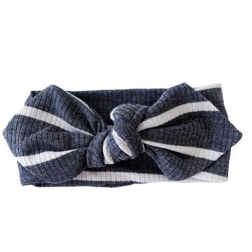 Knot Headband, Ribbed Charcoal & White Stripe