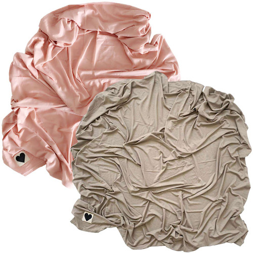 2-Pack Jersey Stretch Swaddle, Dusty Rose & Clay