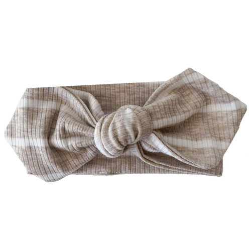 Knot Headband, Ribbed Marled Taupe Stripe
