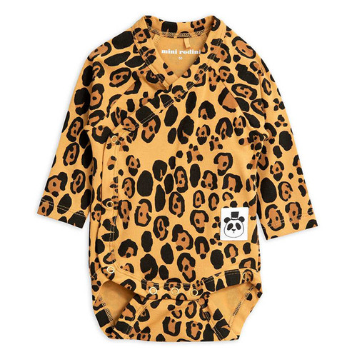 Mini Rodini Basic Wrap Bodysuit, Leopard