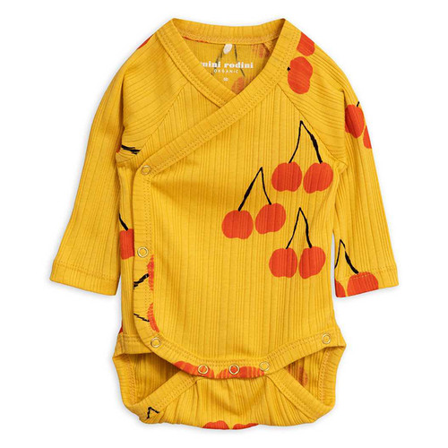 Mini Rodini Cherry Wrap Bodysuit, Yellow