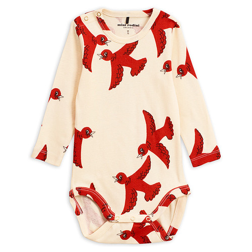 Mini Rodini Flying Birds Long Sleeve Bodysuit, Red
