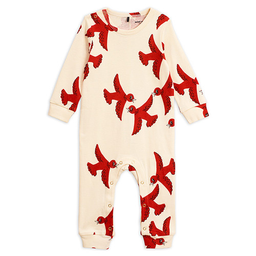 Mini Rodini Flying Birds Jumpsuit, Red