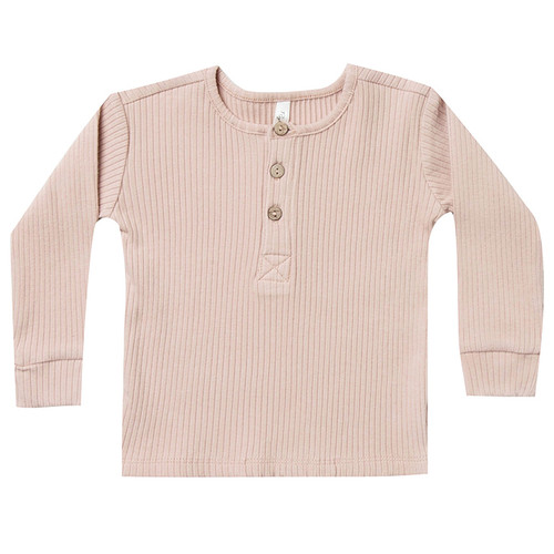 Rylee & Cru Ribbed Henley, Rose