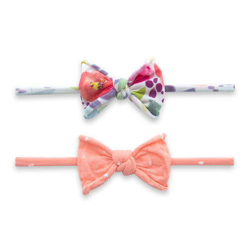 2-Pack Bow Set, Coral Floral