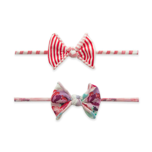 2-Pack Bow Set, Floral Stripe