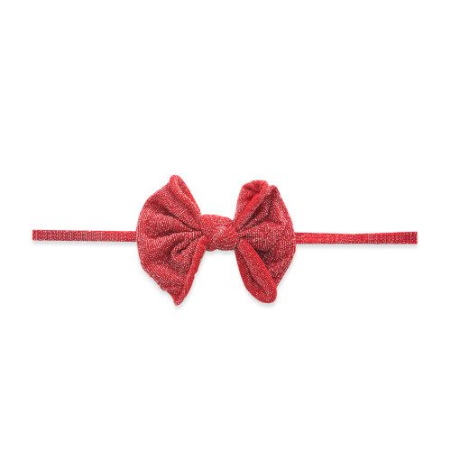 Skinny Shimmer Bow, Red