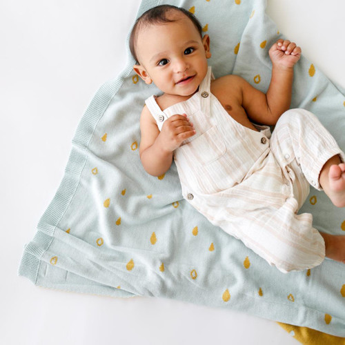Organic Cotton Reversible Baby Blanket, Raindrops