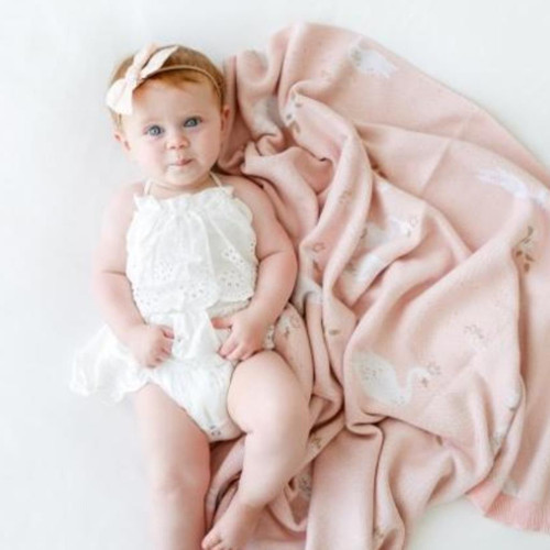Organic Cotton Baby Blanket, Swans