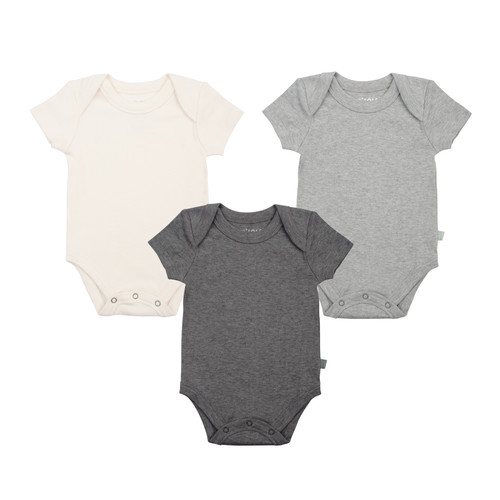 Organic Cotton Short Sleeve 3-Pack Bodysuit, Off White/Grey/Charcoal