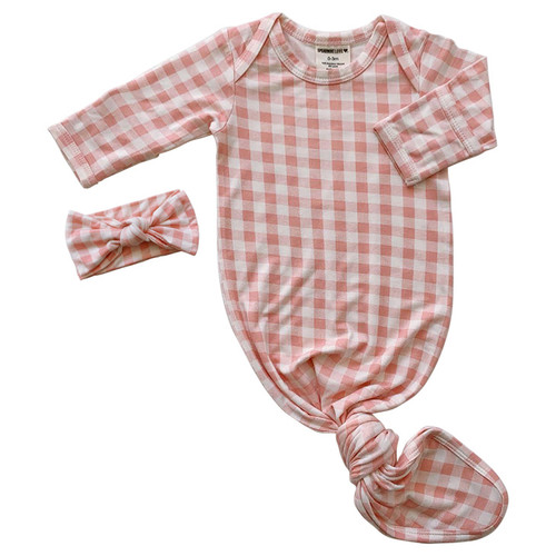 Knotted Gown & Bow Set,  Pink Gingham