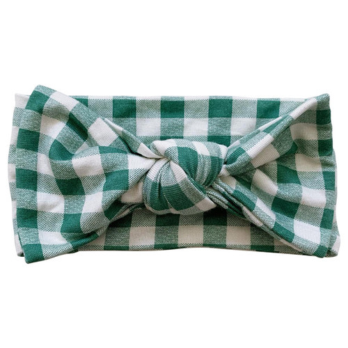 Knot Bow, Sea Green Gingham
