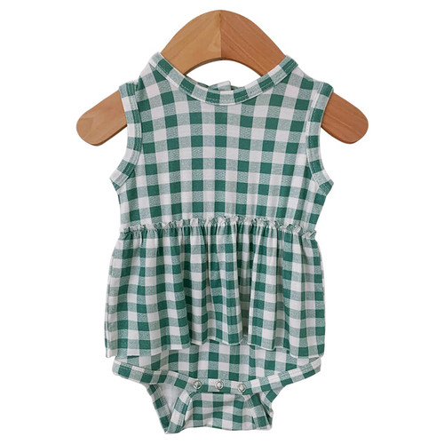 Sleeveless Skirted Bodysuit, Sea Green Gingham