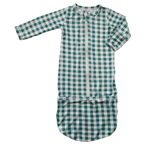 Convertible Zip Gown, Sea Green Gingham