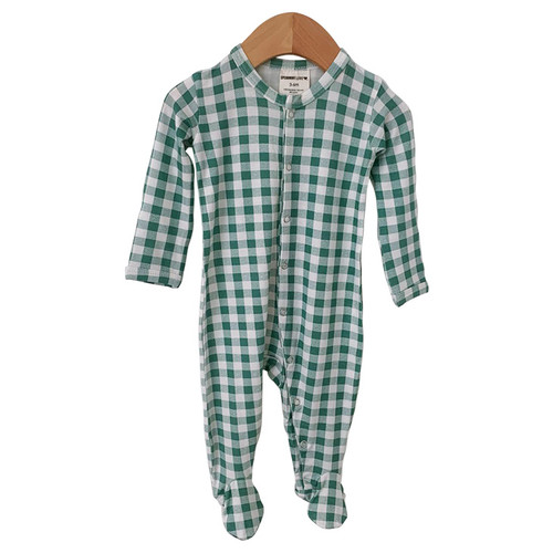 Basic Snap Footie, Sea Green Gingham
