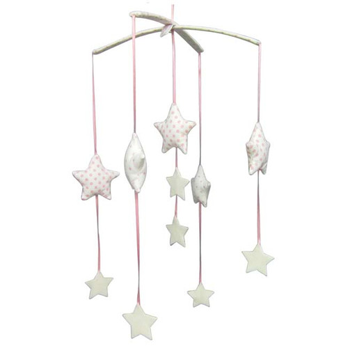 Falling Star Mobile, Pink & Ivory