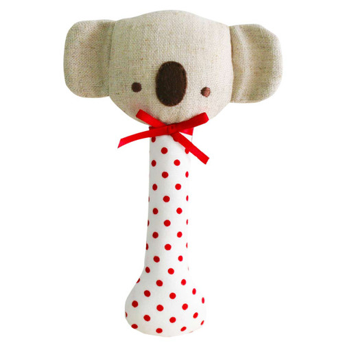 Baby Koala Stick Rattle, Red Dot