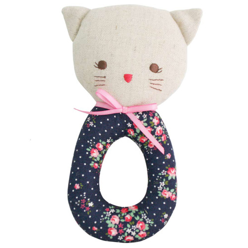Kitty Grab Rattle, Midnight Floral
