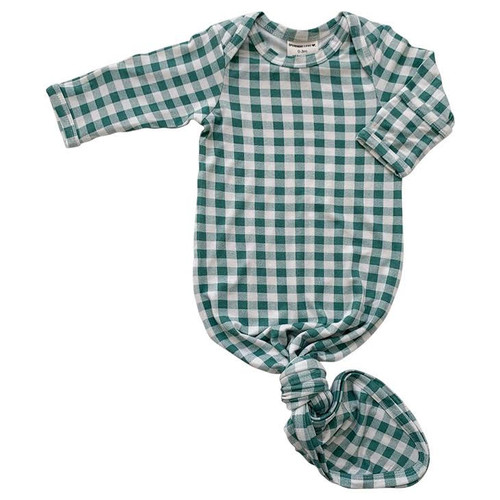 Knotted Gown, Sea Green Gingham