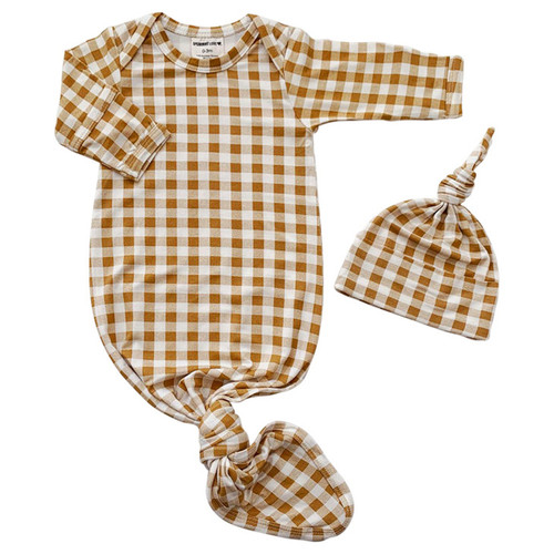 Knotted Gown & Hat Set, Ochre Gingham