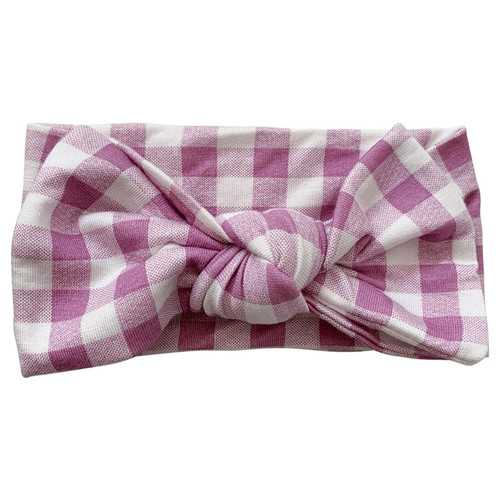 Knot Bow, Lavender Gingham