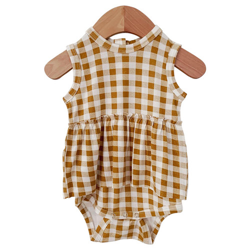 Sleeveless Skirted Bodysuit, Ochre Gingham