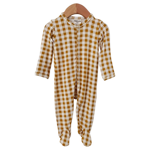 Basic Snap Footie, Ochre Gingham