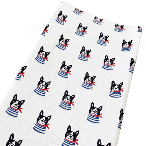 Muslin Changing Pad Cover, Frenchie the Dog