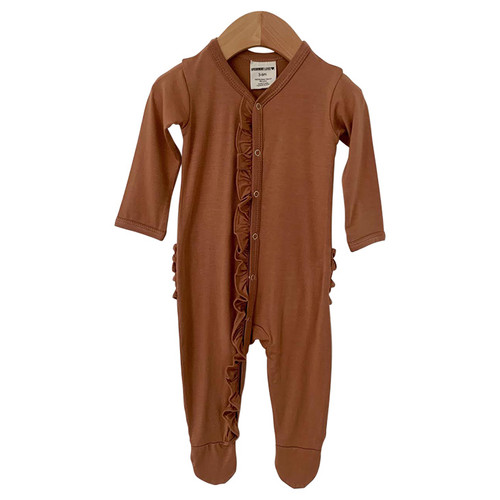 Ruffle Snap Footed Romper, Caramel