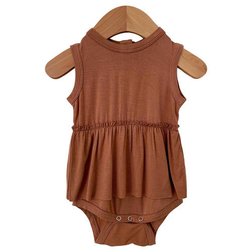 Sleeveless Skirted Bodysuit, Caramel