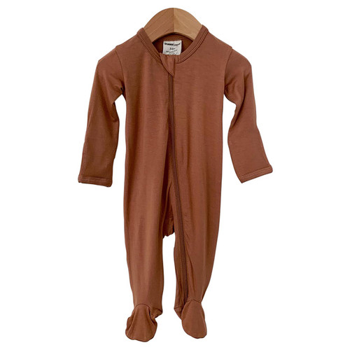 Basic Zipper Footed Romper, Caramel