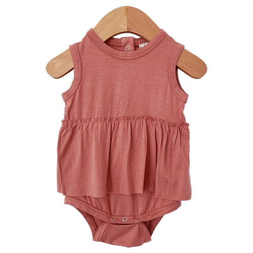 Sleeveless Skirted Bodysuit, Dusty Rose