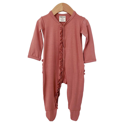 Ruffle Snap Footed Romper, Dusty Rose